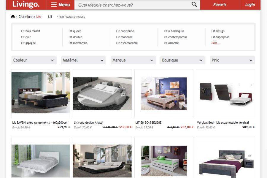 Capture d'écran du site Livingo
