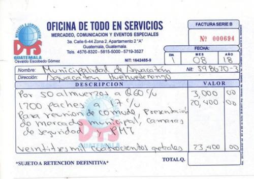 Esta es la factura que detalla el pago de alimentación en la Municipalidad de Aguacatán. (Foto: Guatecompras)