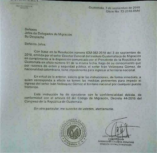 Oficio No. 72-2018-RMV que circuló en redes sociales, en el que se impide el ingreso de Iván Velásquez al país. (Foto: Captura de pantalla)