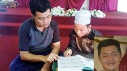 Muhammad Nabil Ashraf Abdullah (kiri), sambil diajar oleh Sidiq Asan, rakan di Madrasah Pengajian Islam (MPI) Kok Lanas di Kota Bharu