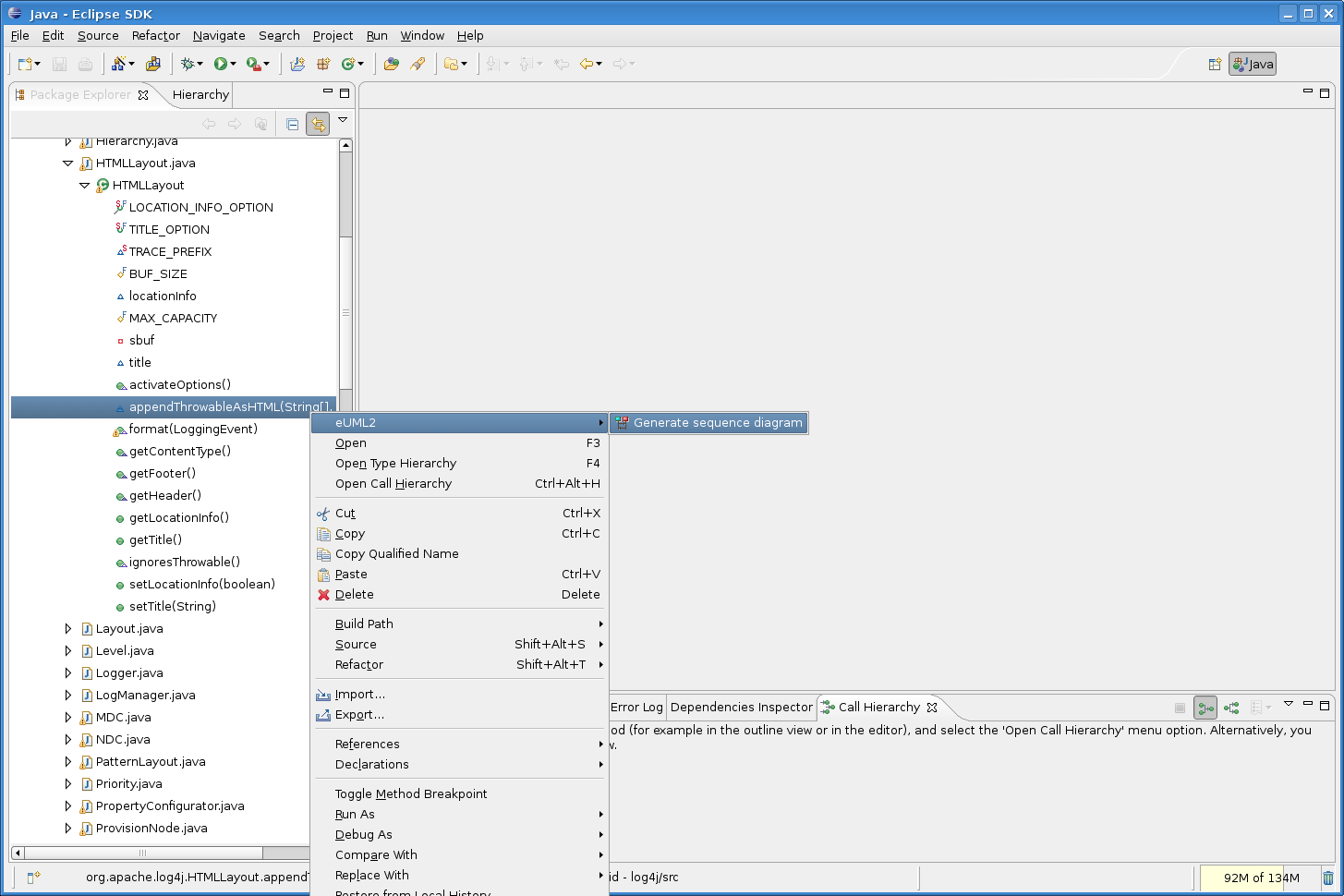 hight resolution of a filter dialog shows up to select the method calls to display in the diagram see preference page