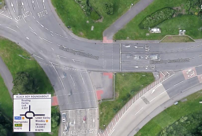 Rotonda (Roundabout) típica inglesa