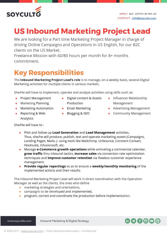 How I An Inbound Marketing Strategy To Land My Dream Job. Job Description