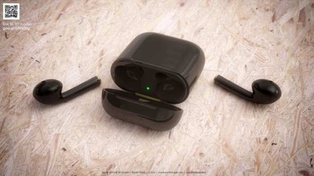 Render AirPods en color negro