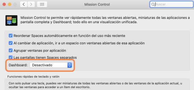 Dashboard en Misión Control