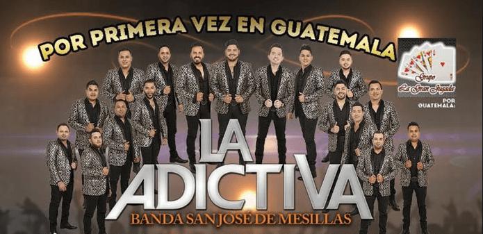 La Adictiva comparte su publicación, emocionados por su presentación en Guatemala.