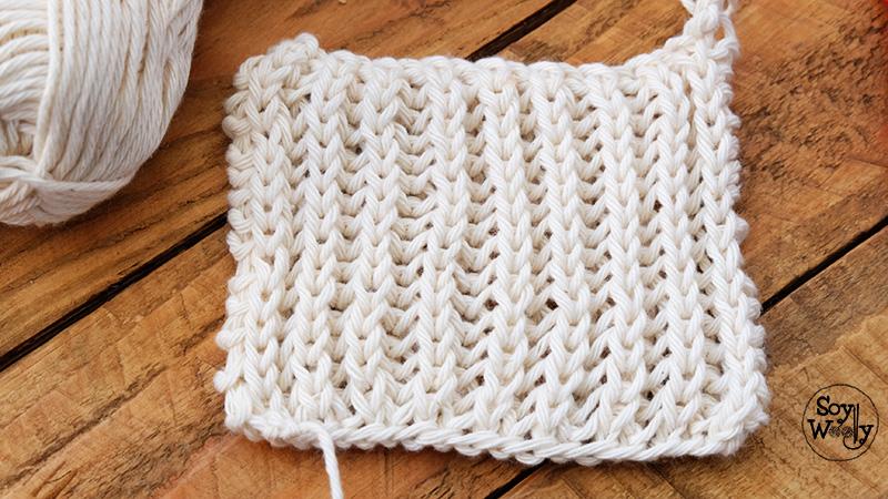 Punto Brioche dos agujas palillos tricot calceta-Soy Woolly