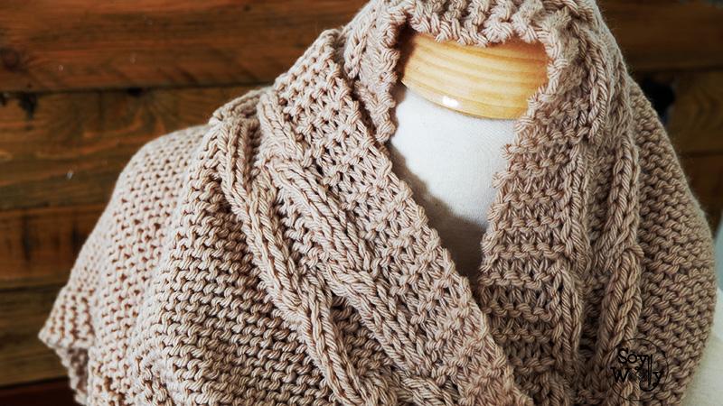 Teje una bufanda con capucha f cil en dos agujas soy woolly - Como empezar a hacer punto paso a paso ...
