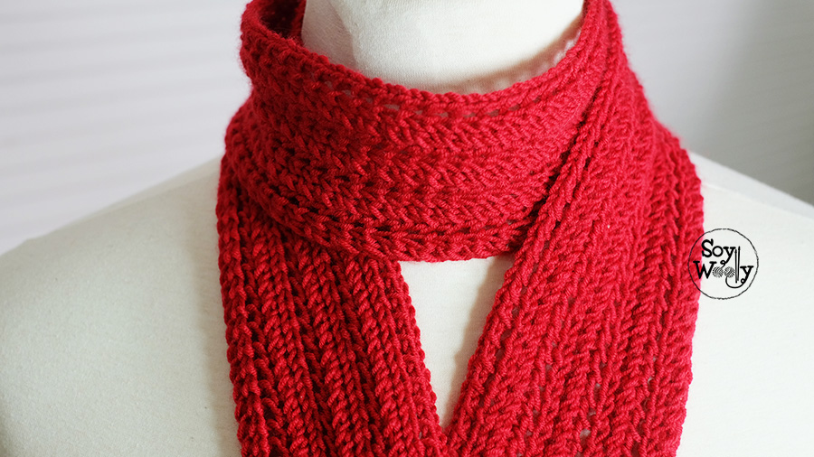 bufanda tejida en dos agujas para los peques