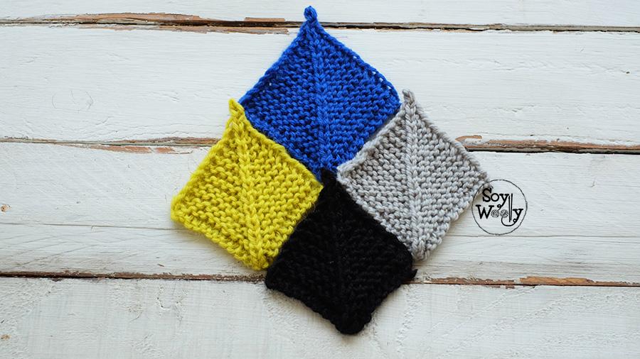 C mo tejer cuadrados para mantas en dos agujas mitered - Tejer mantas de lana ...