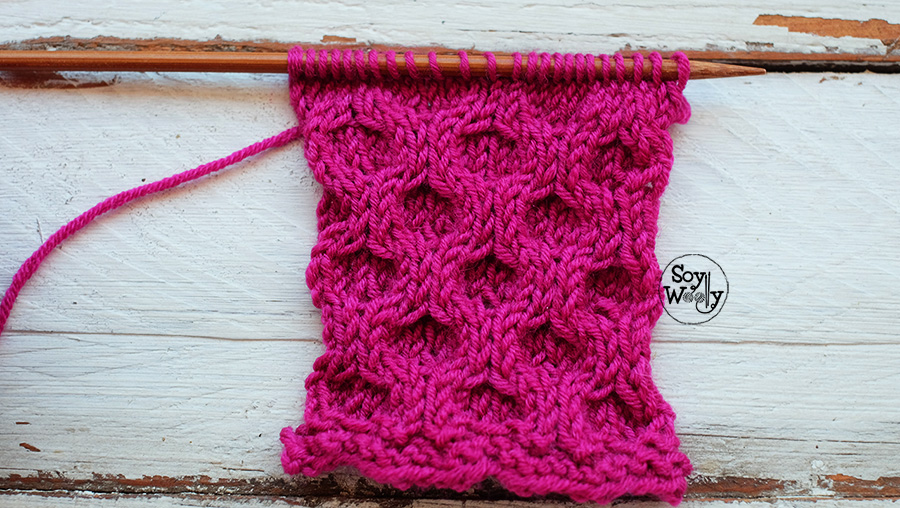 Punto de Alveolos tejido en dos agujas calceta tricot palitos