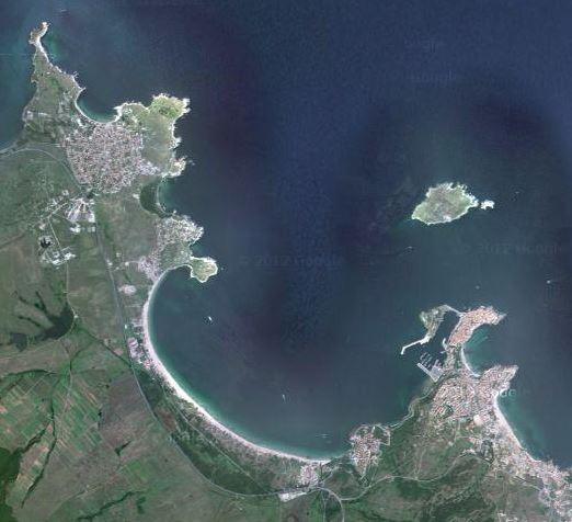 Созопол и прилежащите му острови, погледнати от Космоса.