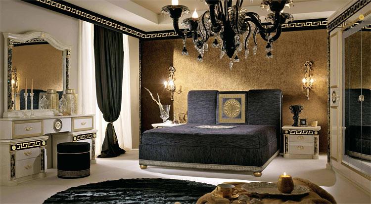 Luxus Schlafzimmer Bett Griechischer Muster Gold Dekor Stilmbel Italien Design  eBay