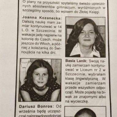 Pierwsi absolwenci naszego gimnazjum.