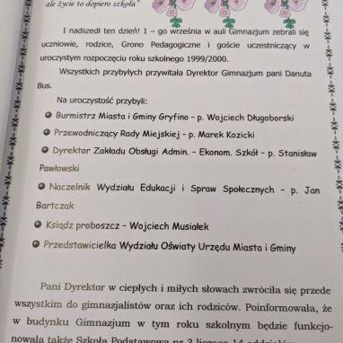 Inauguracja pierwszego roku szkolnego w gimnazjum w Gryfinie.