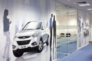 Image of Hyundai Training Centre glass office walls and bespoke digital wallpaper decal