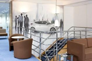 Image of Hyundai Training Centre mezzanine floor breakout area with digital wallpaper