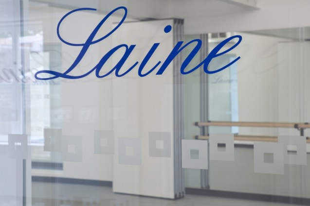Image of Laine Theatre Arts glass decal branding