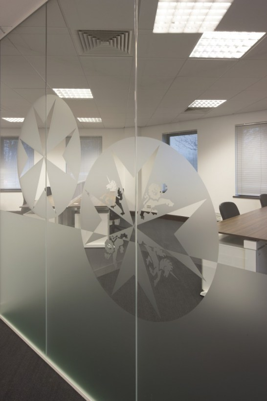 Image of St Johns Trust partition glass decal branding