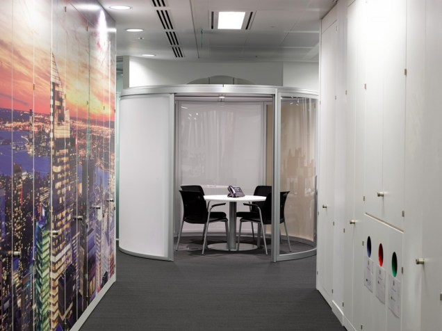 Image of Thomas Cook HQ office corridor storage wall, office pod meeting room and digital wallpaper