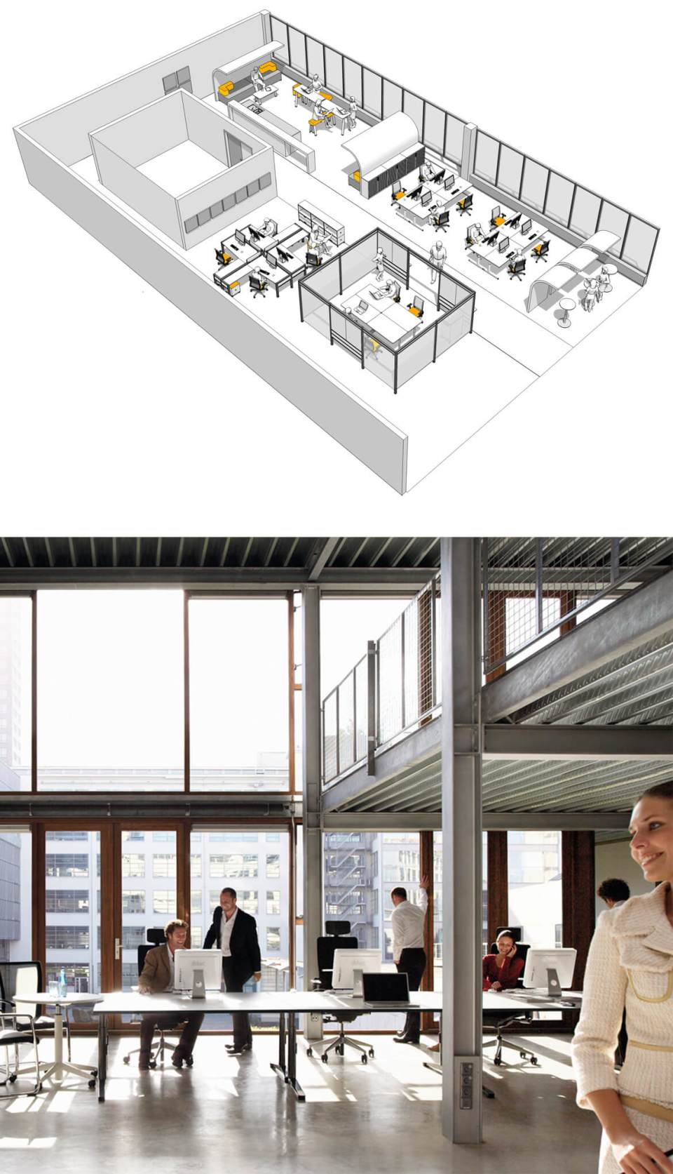 Office Space Planning - Image of collaborative working office furniture