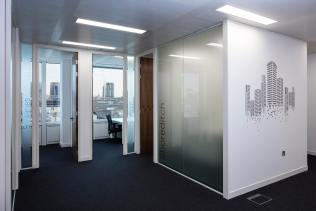 Image of glass office wall partitions