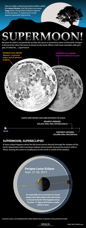 "Supermoons can appear 30 percent brighter and up to 14 percent larger than typical full moons. <a href=""http://www.space.com/11161-supermoon-full-moon-science-infographic.html"">Learn what makes a big full moon a true 'supermoon' in this Space.com infographic</a>."