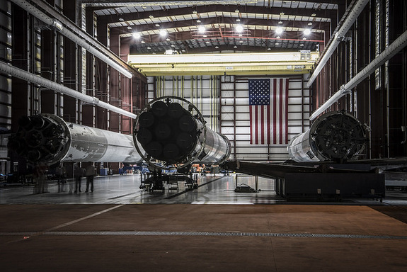 Shot of SpaceX's three landed Falcon 9 first stages in a hangar at Kennedy Space Center's Launch Complex 39A. Photo taken May 14, 2016.