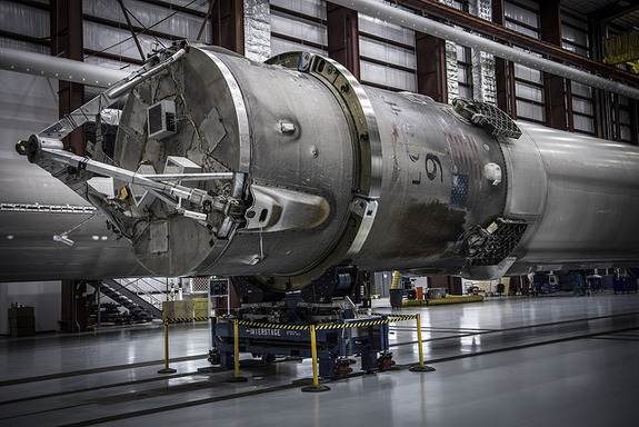 Close-up view of one of SpaceX's three landed Falcon 9 first stages. Photo taken inside a hangar at Kennedy Space Center's Launch Complex 39A on May 14, 2016.