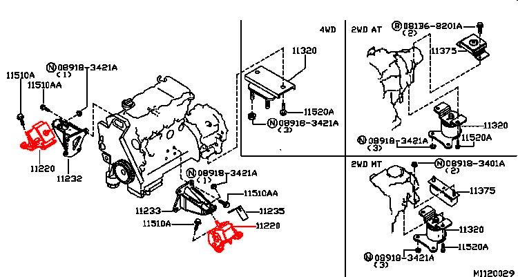 NISSAN NAVARA D40 05- PODUSZKA SILNIKA 2.5 dCi 11220-EB300