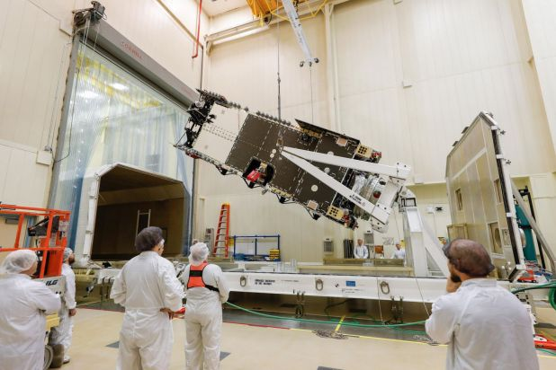 The Arabsat-6A satellite undergoing final testing at Lockheed Martin's Sunnyvale, California, site. Photo Credit: Lockheed Martin