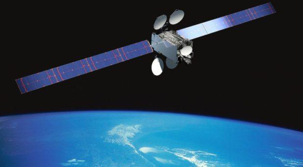 A representation of the Intelsat 29e communications satellite in orbit. Image credit: Intelsat