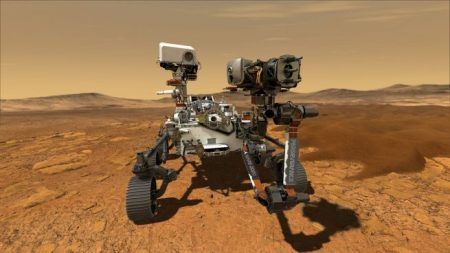 Illustration depicting the Perseverance rover on Mars. Credit: NASA
