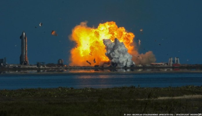 Starship SN9 explodes as it impacts the landing zone in off nominal conditions. This often brings up the question of what defines a failure in spaceflight testing. Image: Nicholas D'Alessandro, Spaceflight Insider