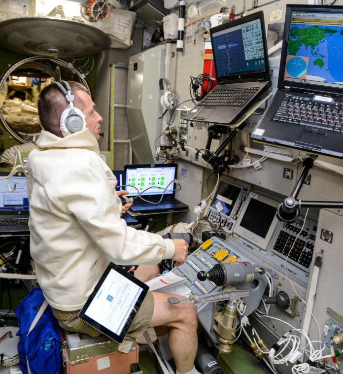 Expedition 64 commander and Russian cosmonaut Sergey Ryzhikov practices using the TORU manual docking system in the days before the Progress MS-16 cargo ship's arrival. Credit: NASA