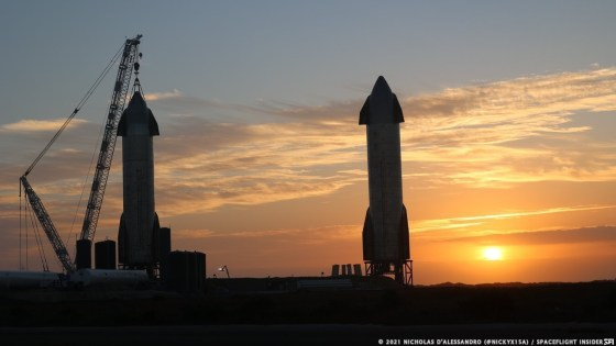 Starships SN9, right and SN10, are tall at the Boca Chica launch complex on the morning of January 30th.  SpaceX received permission to fly Starship SN9 as early as February 2nd.  It looks like the company will launch while the SN10 is on a nearby pad.  Credit: Nicholas D'Alessandro / Spaceflight Insider