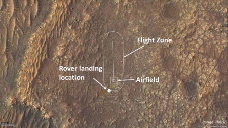"""Ingenuity's का एक चित्र """"हवाई क्षेत्र।"""" साभार: NASA"""