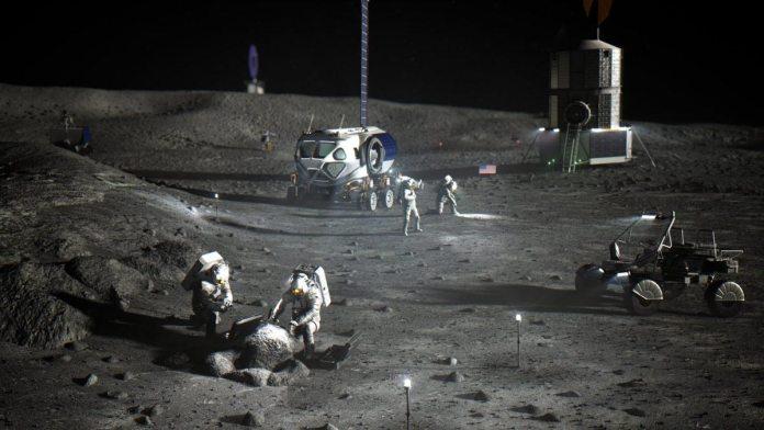चंद्र दक्षिण ध्रुव पर आधार का चित्रण।  साभार: NASA