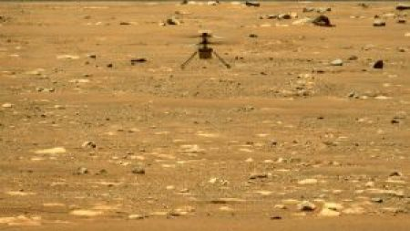 An image of the Ingenuity Mars Helicopter during its second flight on April 22, 2021. The photo was captured by the Perseverance rover, located about 70 meters away. Credit: NASA/JPL-Caltech/MSSS