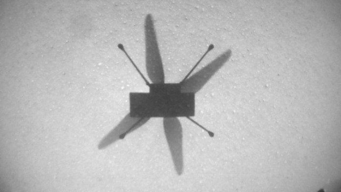 The shadow of the Ingenuity Mars Helicopter as it completes its seventh flight on Mars. Credit: NASA/JPL-Caltech