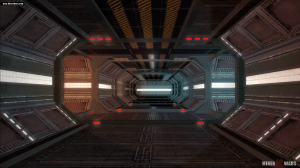 A hallway inside a station in Miner Wars 2081.