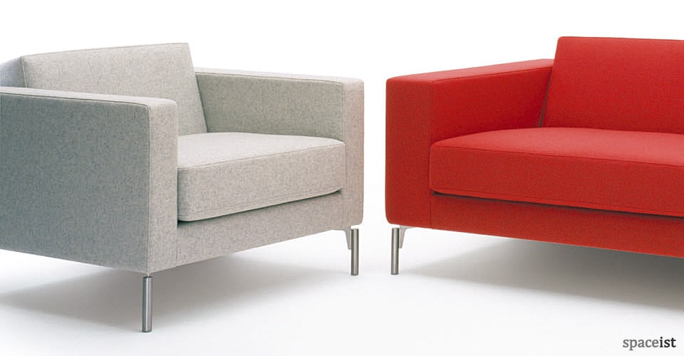 office sofas and chairs large round corner sofa reception 34 red fabric