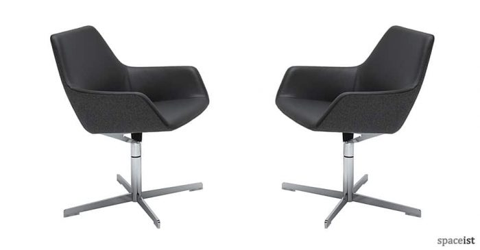 black leather reception chairs wooden office tub swivel stylish spaceist 85