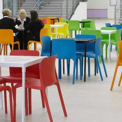 Blue Green Chair Dining Table With 6 Chairs Canteen Seating Pop Red Orange Cafe