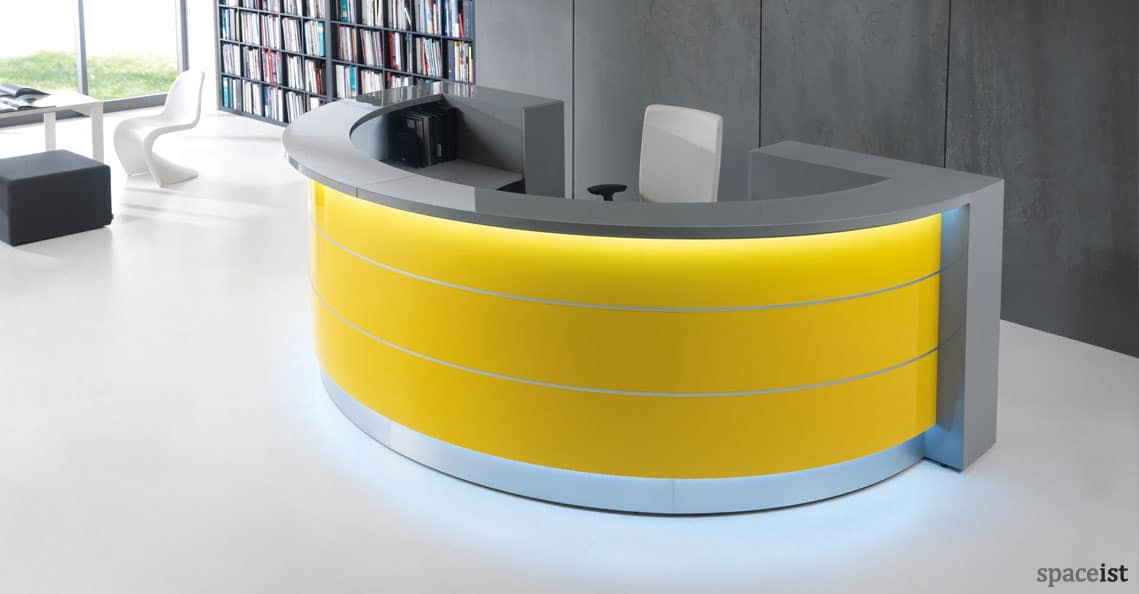 White Reception Desks  Valde halfcircle desk