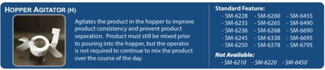 "Hopper Agitator ""H"" for soft serve Ice Cream Machines"