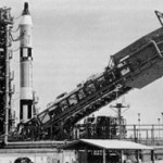Gemini-Titan 1 during Electronic-Electrical Interference Tests with the launch vehicle erector lowered