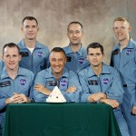 Prime & backup crews 4/1/66. Backup crew Scott, McDivitt & Schweickart were replaced by Schirra, Eisele & Cunningham