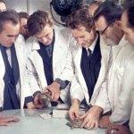 Scientist observing lunar Tortoises