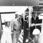 Apollo 10 crew briefed on emergency egress slide at pad 39-B